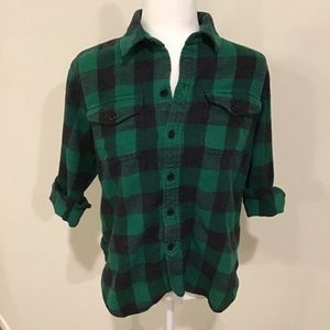 Madewell flannel, small, green and black